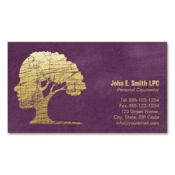 luxury purple psychologist personal counselor magnetic business card