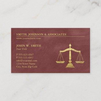 luxury red lawyer scales of justice gold effect business card