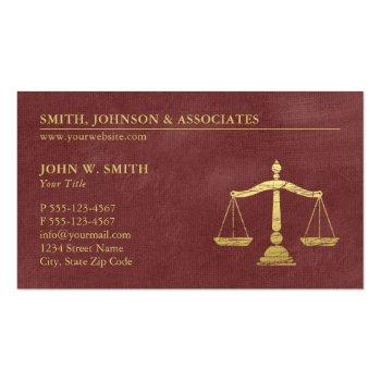 Small Luxury Red Lawyer Scales Of Justice Gold Effect Business Card Front View
