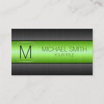 luxury stainless steel metal monogram #5 business card