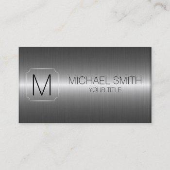 luxury stainless steel metal monogram business card