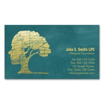luxury turquoise psychologist personal counselor magnetic business card