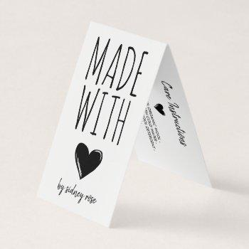 made with love doodled heart hang tag
