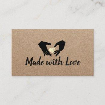 made with love hands & gold heart rustic kraft business card