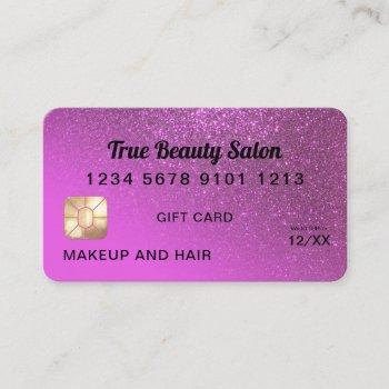 magenta glitter credit card gift certificate