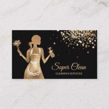 maid cleaning house professional cleaning services business card