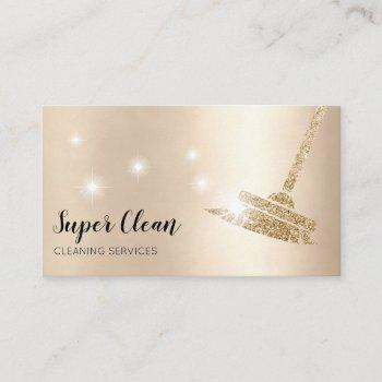 maid cleaning house sparkling business card