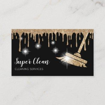 maid cleaning house sparkling dripping gold business card