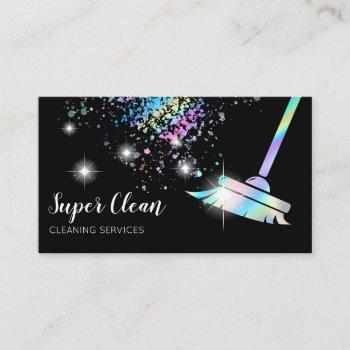 maid cleaning house sparkling holograph business card
