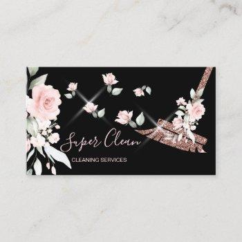 maid cleaning house sparkling rose gold floral business card