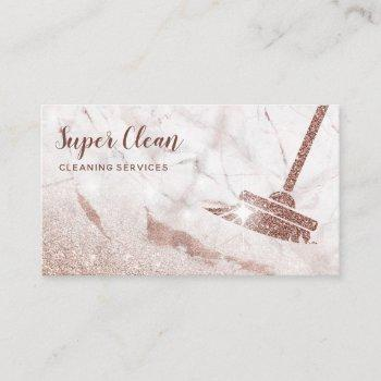 maid cleaning house sparkling rose gold marble business card