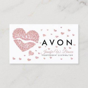 make up artist rose gold pink heart lips business card