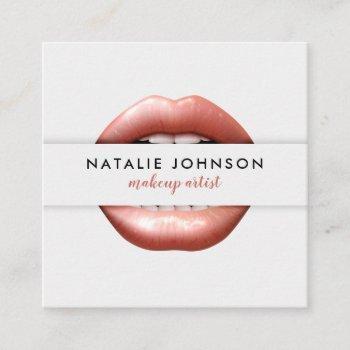 makeup artist 3d chic pink lips modern gray beauty square business card