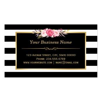 Small Makeup Artist Beauty Salon Gold Vintage Floral Business Card Back View