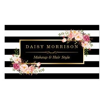 Small Makeup Artist Beauty Salon Gold Vintage Floral Business Card Front View