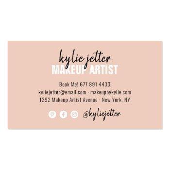 Small Makeup Artist Bold Signature Script Blush Pink Business Card Back View