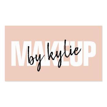Small Makeup Artist Bold Signature Script Blush Pink Business Card Front View