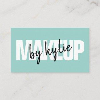 makeup artist bold signature script mint blue business card