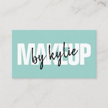 makeup artist bold signature script mint blue business card