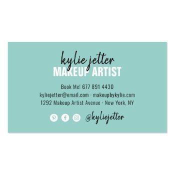 Small Makeup Artist Bold Signature Script Mint Blue Business Card Back View