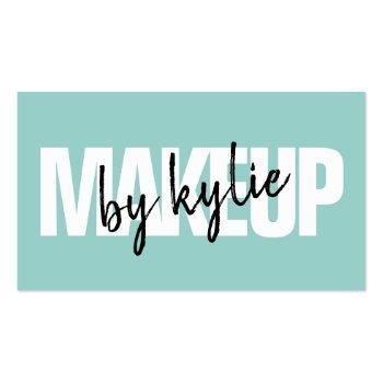 Small Makeup Artist Bold Signature Script Mint Blue Business Card Front View