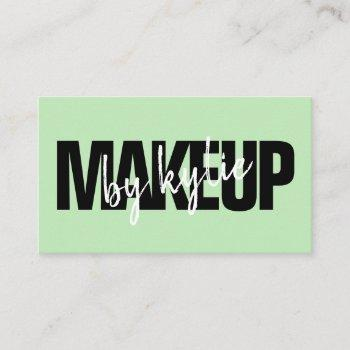 makeup artist bold signature script pastel green business card