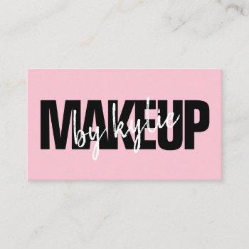 makeup artist bold signature script pastel pink business card