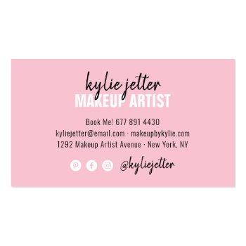 Small Makeup Artist Bold Signature Script Pastel Pink Business Card Back View