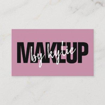 makeup artist bold typography script violet purple business card