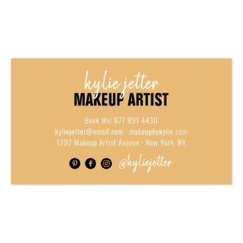 Small Makeup Artist Bold Typography Script Yellow Gold Business Card Back View