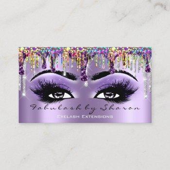 makeup artist brow eyelash drip violet holographic business card