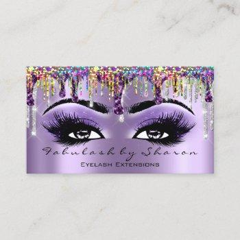 makeup artist brow eyelash drips purple holograph business card