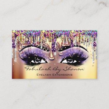 makeup artist brow eyelash gold drips confetti business card