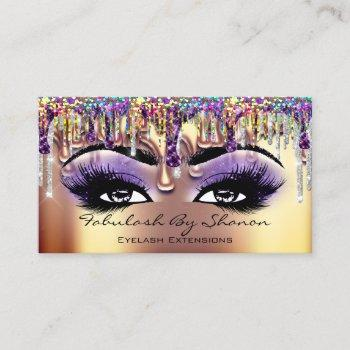 makeup artist brow eyelash gold drips holograph business card