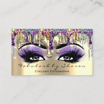 makeup artist brow eyelash gold violet holograph business card