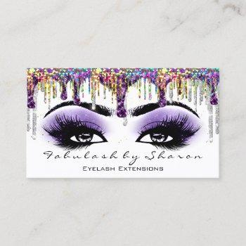 makeup artist brow eyelash gray purple holograph business card
