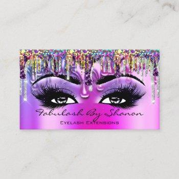 makeup artist brow eyelash purple drips holograph business card