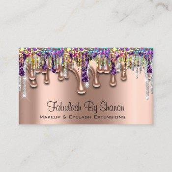makeup artist brow purple holograph business card