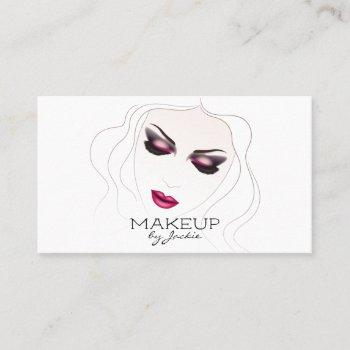 makeup artist business card w/ sketch woman