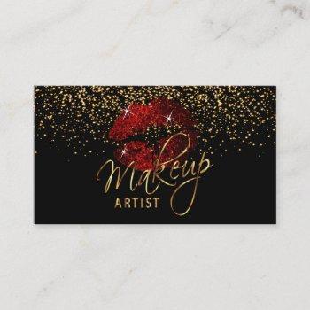 makeup artist  cinnamon red lips on black business card