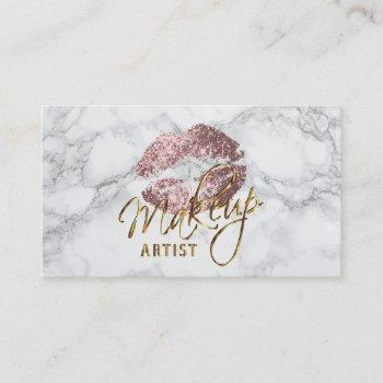makeup artist dusty rose and gray marble business card