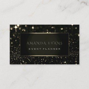 makeup artist event black frame gold spark sepia business card