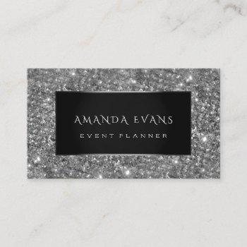 makeup artist event planner black silver glitter business card