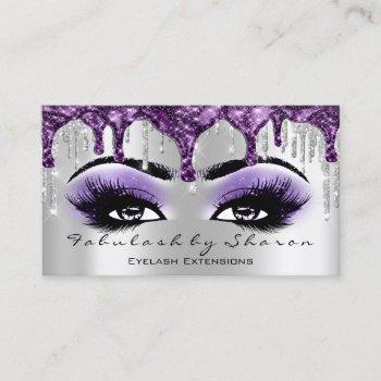 makeup artist eyebrow eyelash silver gray purple business card