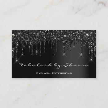 makeup artist eyelash black drips professional business card