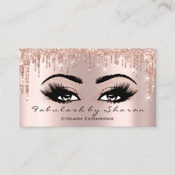 makeup artist eyelash glitter drips rose gold business card
