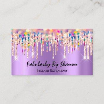 makeup artist eyelash lash drips holograph purple business card