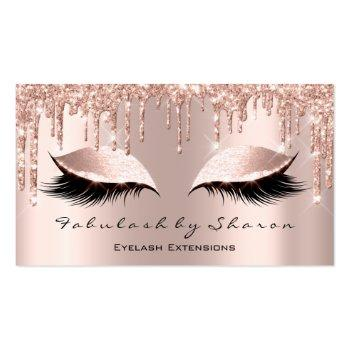 Small Makeup Artist Eyelash Lashes Glitter Drips Rose Business Card Front View