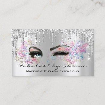makeup artist eyelash lashes glitter drips silver business card