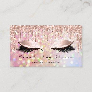 makeup artist eyelash pink glitter drips rose business card